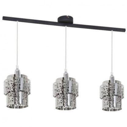 Nowoczesna lampa wisząca Szogun - srebrne, ażurowe klosze