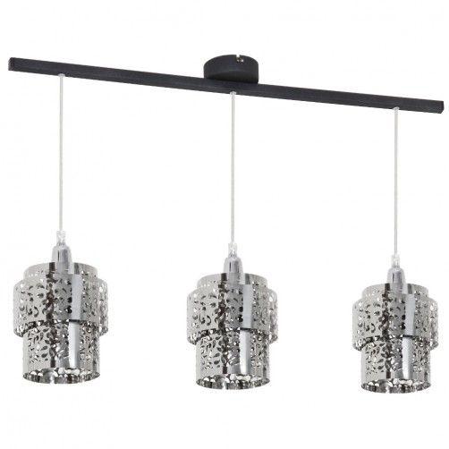 lampa wisząca ze srebrnymi kloszami z metalu