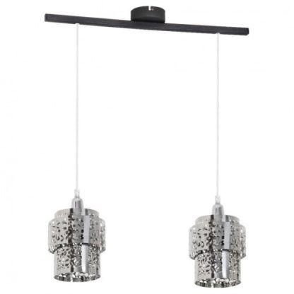 Podwójna lampa wisząca Szogun - srebrne, ażurowe klosze