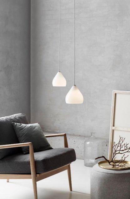biała lampa wisząca skandynawski styl