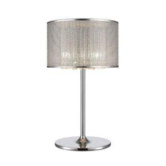 Srebrna lampa stołowa Blink - połyskujący klosz, kryształki wewnątrz