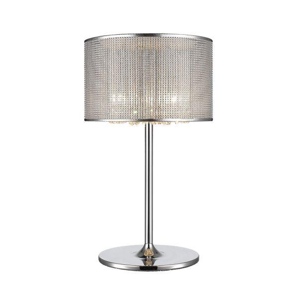 lampa stołowa z kryształkami srebrna