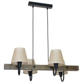 Rustykalna lampa wisząca Thor - beżowe abażury, drewniana podstawa