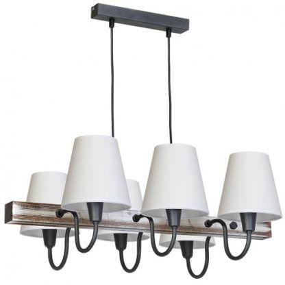 lampa wisząca drewniana z białymi abażurami