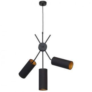 Efektowna lampa wisząca Tutto - czarne abażury złote w środku