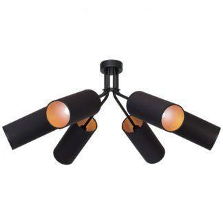 Efektowna lampa sufitowa Tutto - 6 abażurów, czarna ze złotymi akcentami