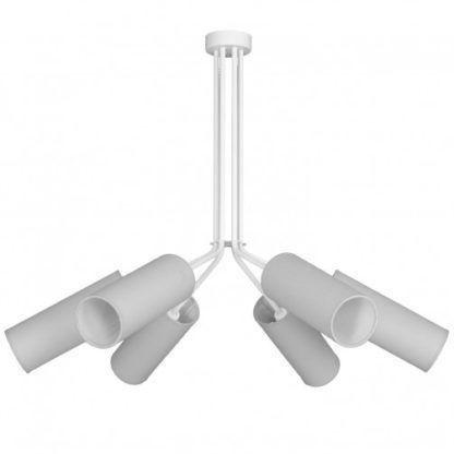 biała lampa z materiałowymi tubami