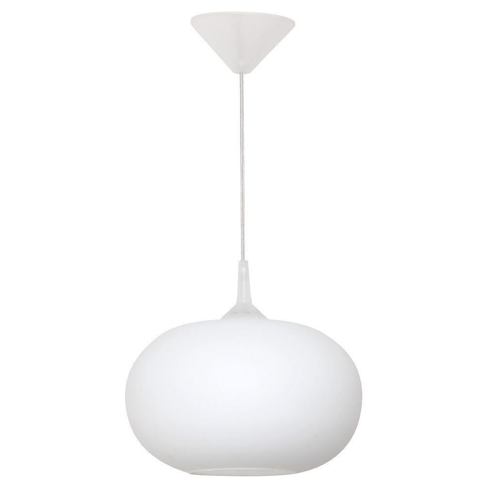 owalna biała lampa wisząca do kuchni