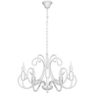 Prowansalski żyrandol Vobo - biały, metalowy