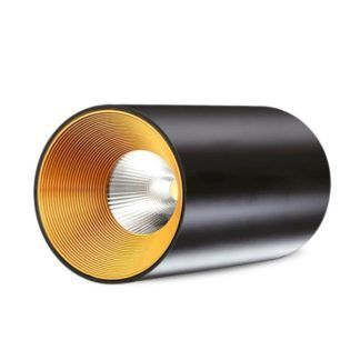 Czarny plafon Agate - tuba, złota w środku
