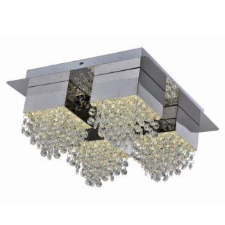 Efektowna lampa sufitowa Amber - 4 klosze, srebrna