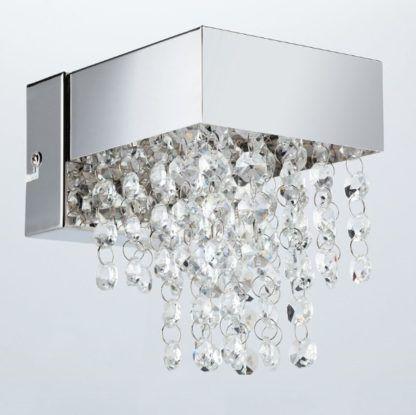 srebrny kinkiet z kryształkami