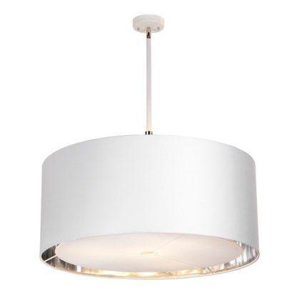 biała lampa wisząca z abażurem
