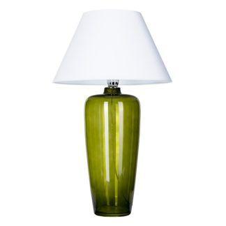 Zielona lampa stołowa Bilbao - szklana, biały abażur