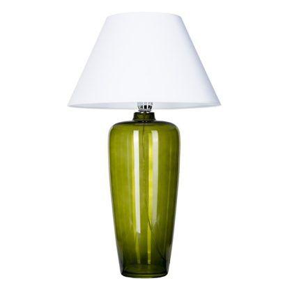 wysoka lampa stołowa zielone szkło