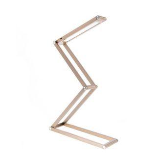 Designerska lampa stołowa Bit - złota, geometryczna