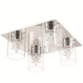 Elegancka lampa sufitowa Blue Sky - srebrna, szklane klosze, kryształki