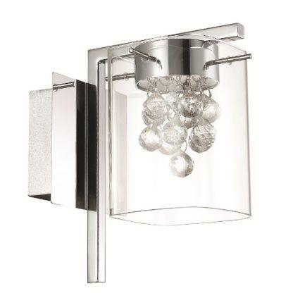 szklany srebrny kinkiet z kryształkami