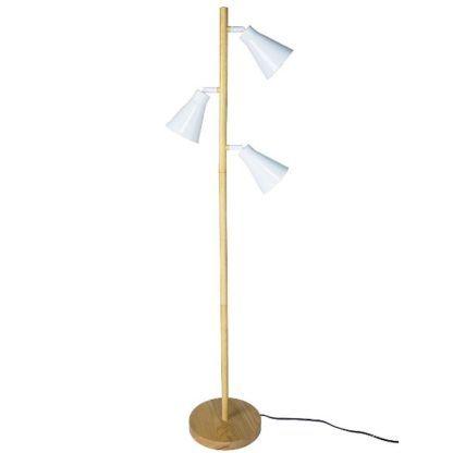 drewniana lampa podłogowa skandynawska
