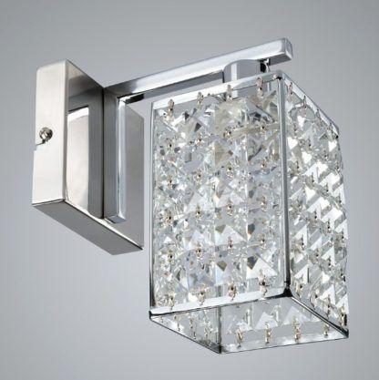 Srebrny kinkiet Claris - glamour, kryształki