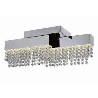 Nowoczesna lampa sufitowa Crystal - podłużny klosz z kryształkami