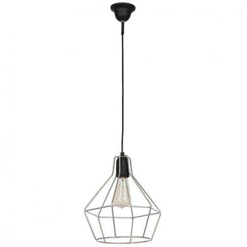 Metalowa lampa wisząca Cyrkon - srebrny klosz, czarna podstawa, druciana