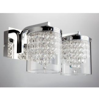 Srebrny kinkiet Diamondia - szklane klosze z kryształkami