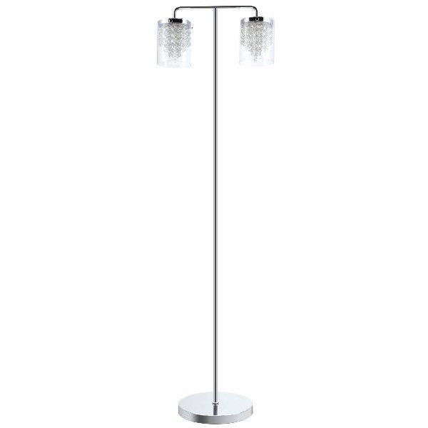 podwójna srebrna lampa podłogowa z kryształami