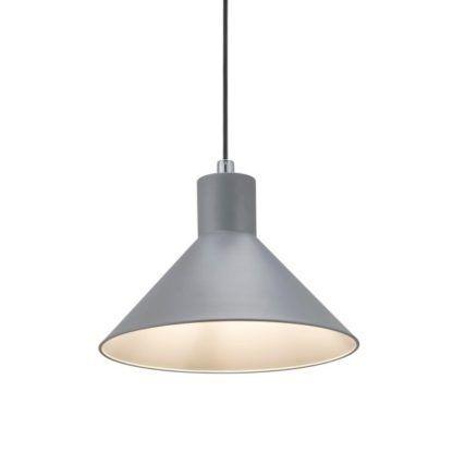 szara lampa wisząca z metalowym kloszem