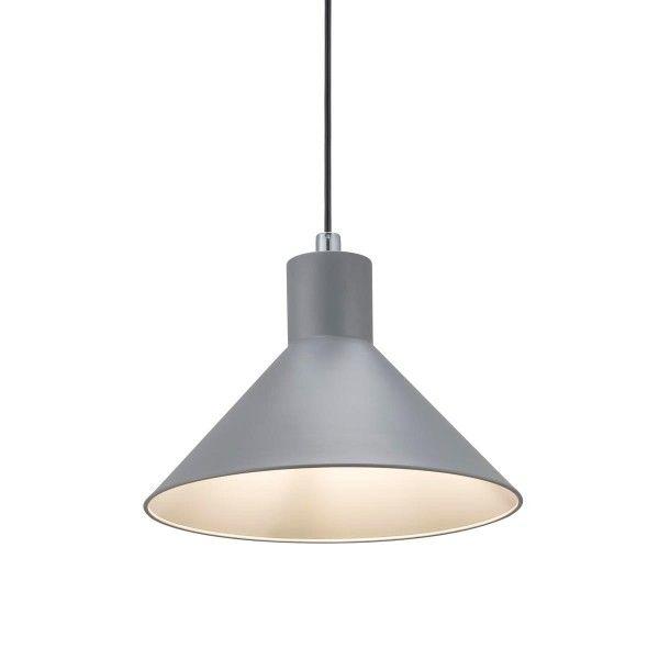 szara lampa wisząca nad stół