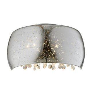 Srebrny kinkiet Elysium - szklany klosz z kryształkami