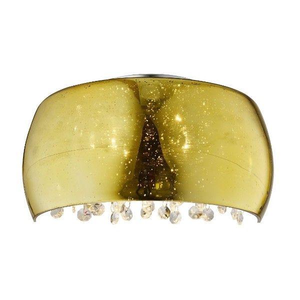 złoty szklany kinkiet z kryształkami