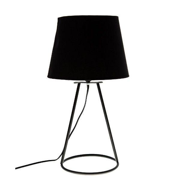 Elegancka lampa stołowa Geo - czarny abażur, lakierowana podstawa
