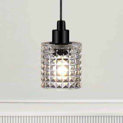 mała lampa wisząca ze szkła - do sypialni