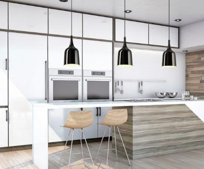 czarna lampa wisząca aranżacja kuchnia