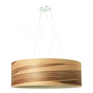 Duża lampa wisząca Funk - drewniany klosz, odcienie brązu