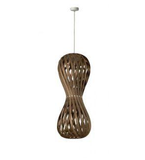 Ciemnobrązowa lampa wisząca Swing - drewniany klosz