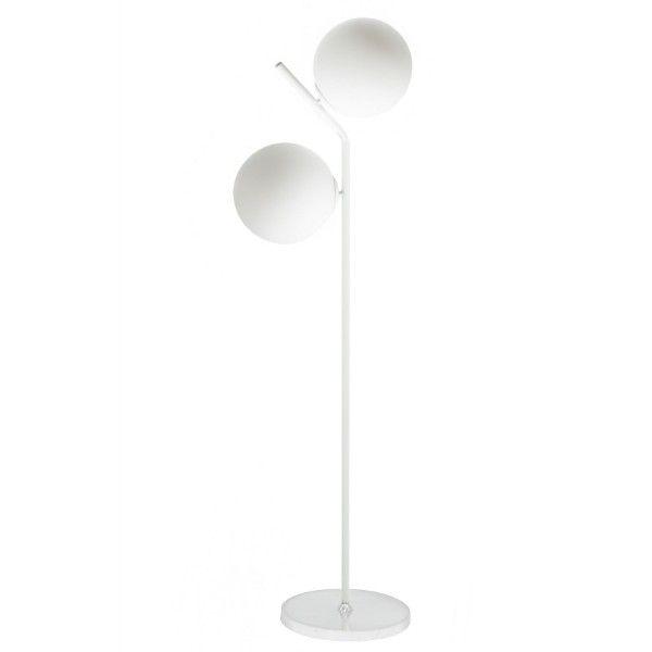 podwójna biała lampa podłogowa
