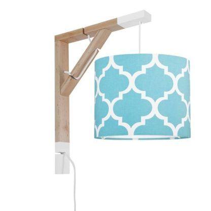 Stylowy kinkiet Simple - niebieski abażur, drewniany