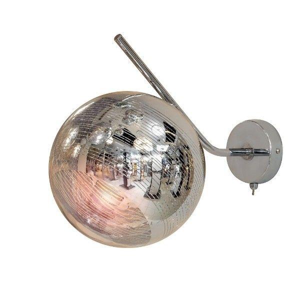 srebrny kinkiet ze szklaną kulą