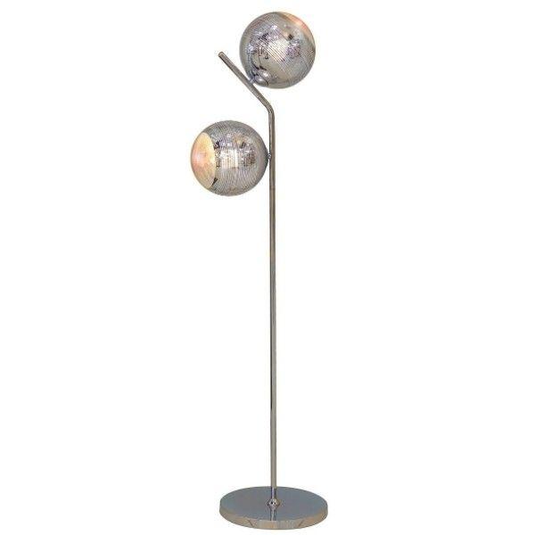 srebrna lampa podłogowa ze szklanymi kulami