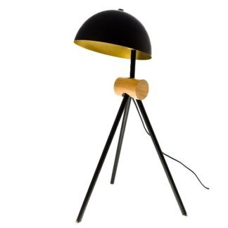 Designerska lampa stołowa Nuno - trójnóg z czarnym kloszem
