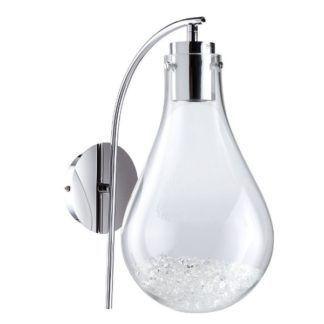 Dekoracyjny kinkiet Optica - szklany klosz z kryształkami