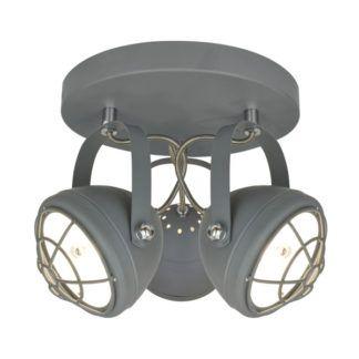 Industrialna lampa sufitowa Balve - trzy szare reflektory