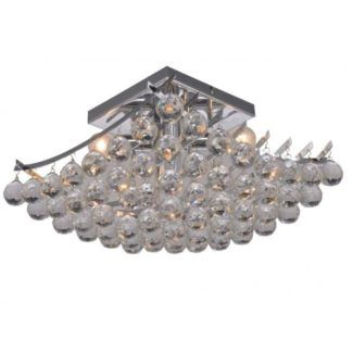 Elegancka lampa sufitowa Model - srebrna, kryształki, nowoczesna