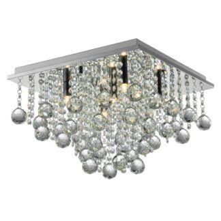 Stylowa lampa sufitowa Rangel - kwadratowa, styl glamour