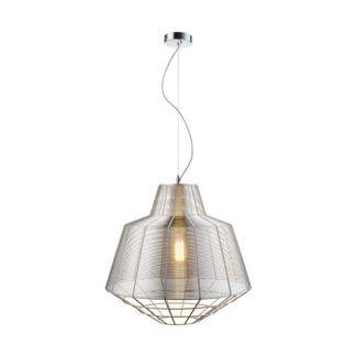 Duża lampa wisząca Wire - srebrny, industrialny klosz