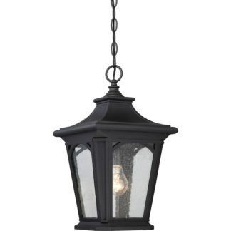 Stylowa lampa wisząca Bedford - czarna oprawa, szklana, IP44