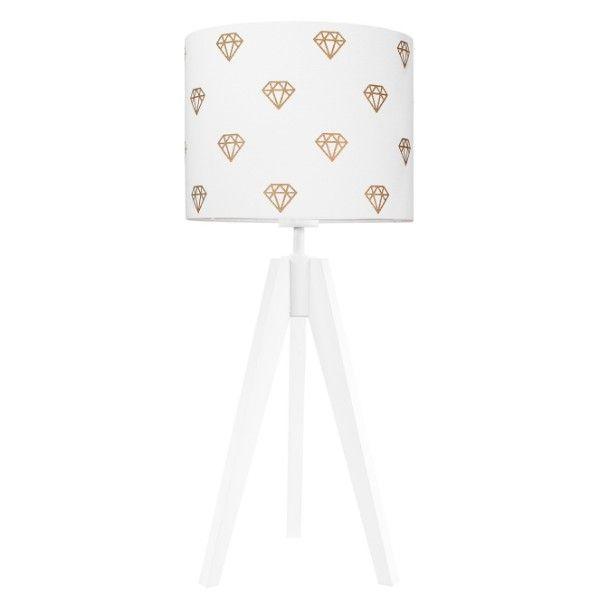 Biały trójnóg stołowy Diamenty - abażur w złote diamenty