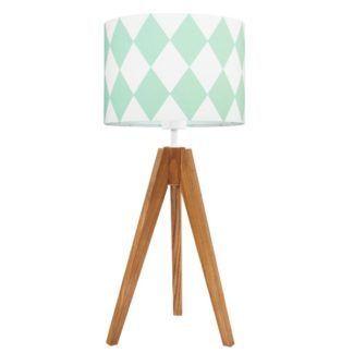 Lampa stołowa Young - drewniany trójnóg, abażur w miętowe romby